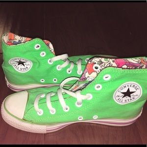 Neon Green Hi Top Converse, Men's 6/Woman 8